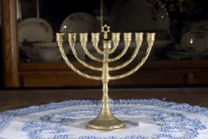 menorah on a table