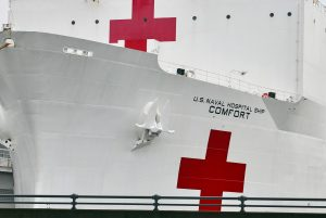 U.S. Navel Hospital Ship, Comfort in New York City on April 26, 2020